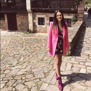 Zara XS Pink Double BreastPadded Shoulder Blazer